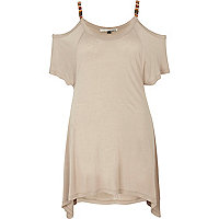 Beige embellished strap cut out shoulder top
