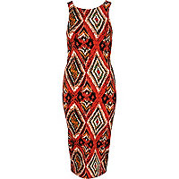 Orange aztec print midi dress