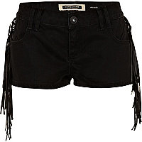 Black tassel denim shorts