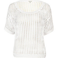 White tape stitch knitted t-shirt