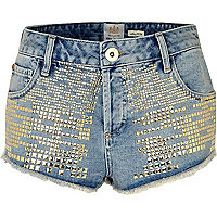 Mid wash denim studded knicker shorts