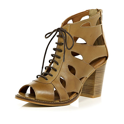 Light brown cut out peep toe sandals