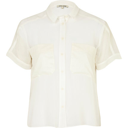 Cream pocket shirt