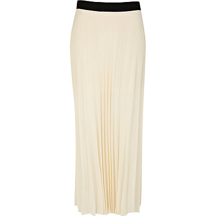 Cream pleated maxi skirt