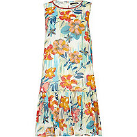 Blue floral print drop waist dress