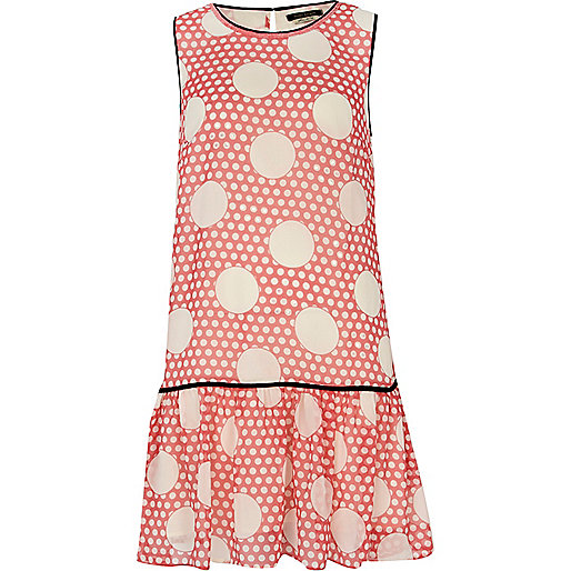Coral polka dot drop waist dress