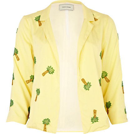 Yellow palm tree print blazer