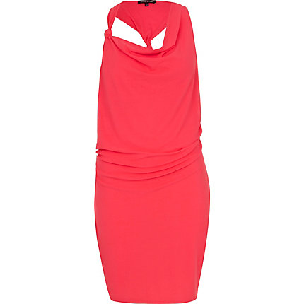 Pink knot front drape neck dress