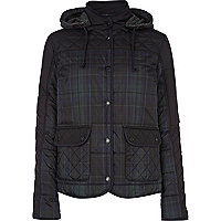 Navy tartan check hooded jacket