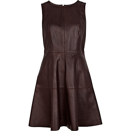 Dark red leather fit and flare dress