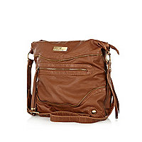 Dark beige cross body messenger bag