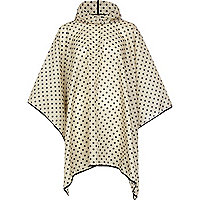 Grey polka dot print hooded rain poncho