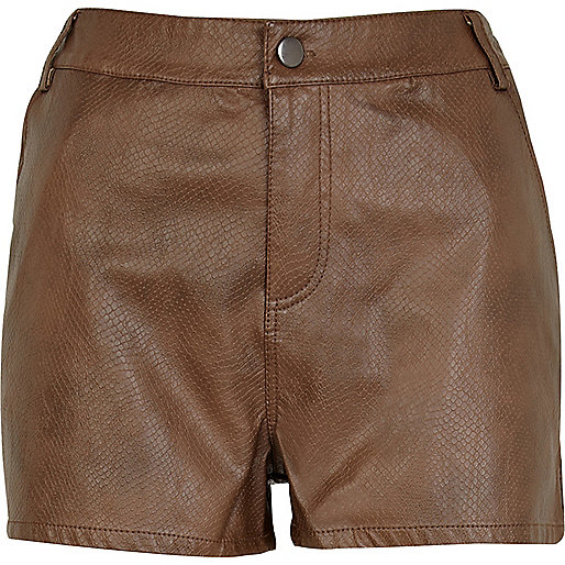 Brown snake leather look shorts