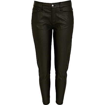 Black leather look crop trousers