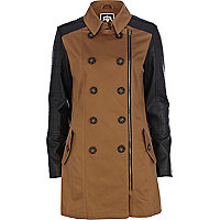 Light brown leather look sleeve trench coat