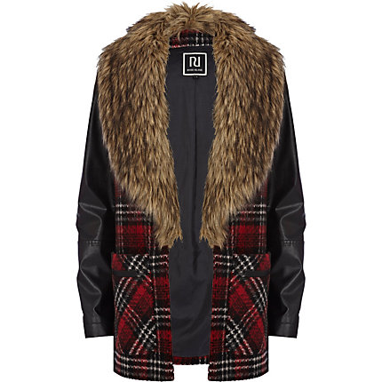 Red tartan faux fur collar boyfriend coat