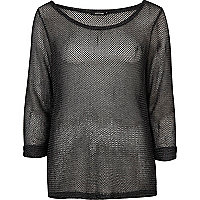 Black open weave top
