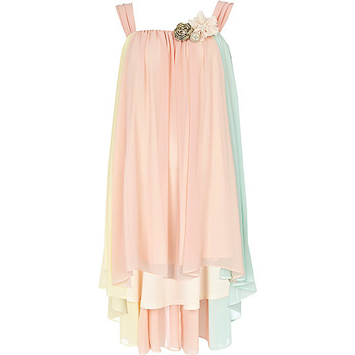 Light pink pastel colour block swing dress