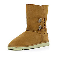 Light brown suede faux fur boots