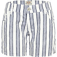 Blue stripe boyfriend denim short
