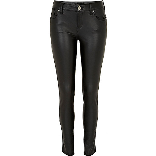 Black leather look Olive super skinny jeans