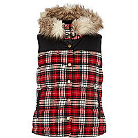 Red check padded gilet