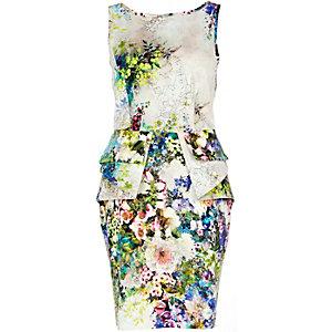 Blue floral print structured peplum dress