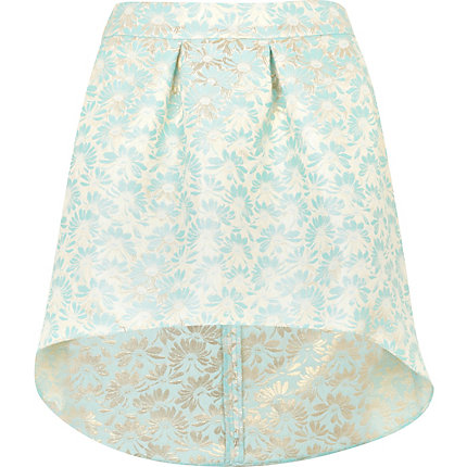 Light green jacquard skirt