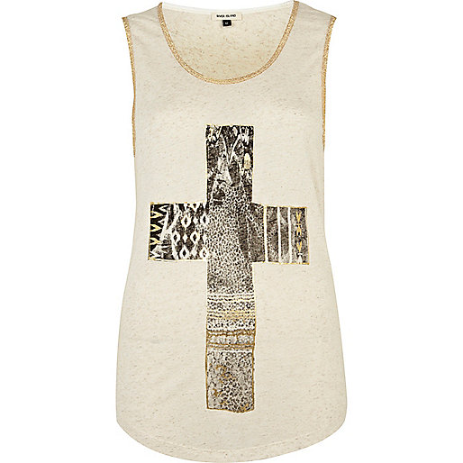 Cream cross print foil tank