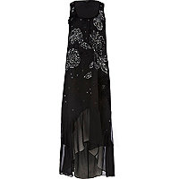 Black embellished dip hem maxi dress