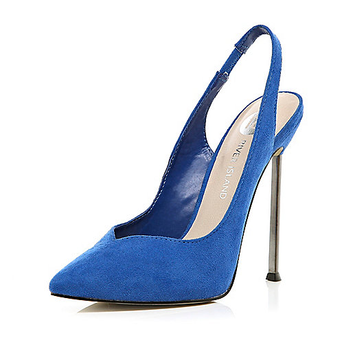 Bright blue pointed slingback shoes