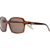 Brown print fendi charm sunglasses