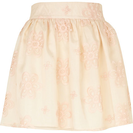 Pink floral organza mini skirt