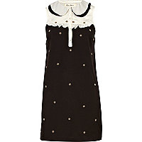 Black colour block spot embellished dress