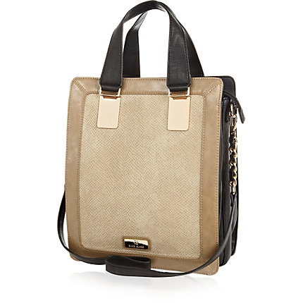 Beige snakeskin panel tote bag