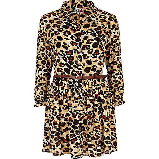 Beige leopard print Chelsea Girl shirt dress