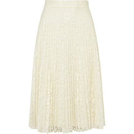 Cream lace pleated midi skirt