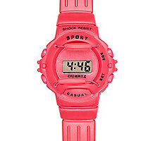 Pink rubber digital sports watch