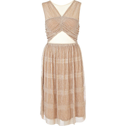 Beige cut out pleated lurex prom dress