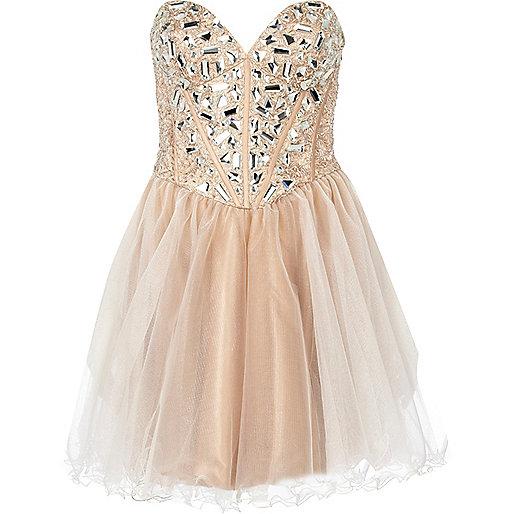 Light beige forever unique embellished dress