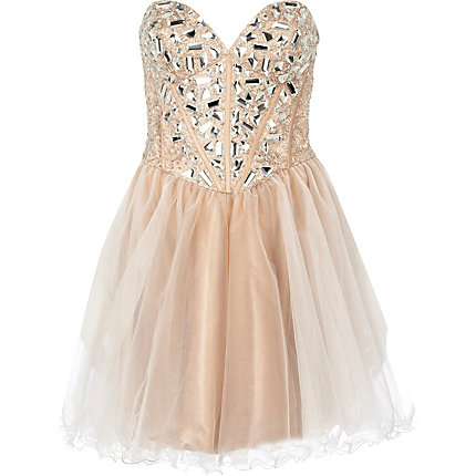 Light beige forever unique embellished dress