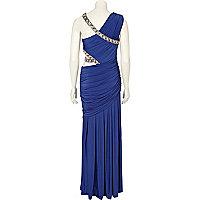 Blue forever unique jewel trim cut out dress