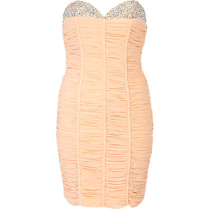 Light peach forever unique bandeau dress