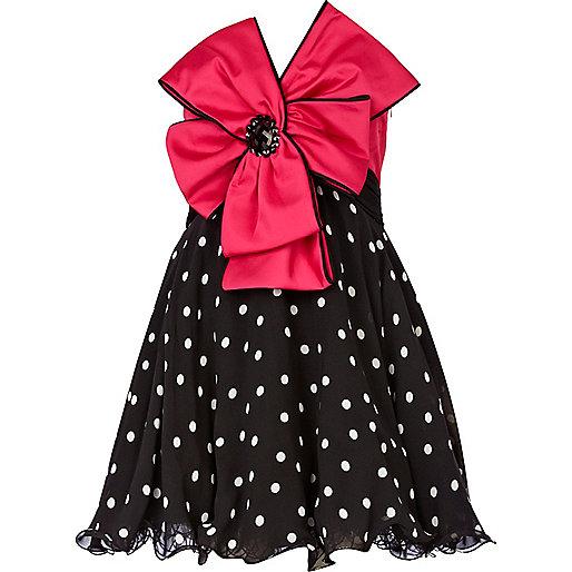 Black polka dot forever unique bow prom dress