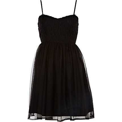 Black lace and mesh strappy dress