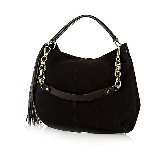 Black tassel slouch bag