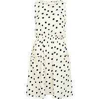 Cream and green polka dot print dress