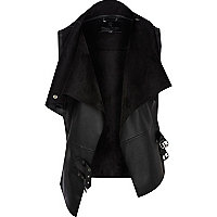 Black leather look gilet