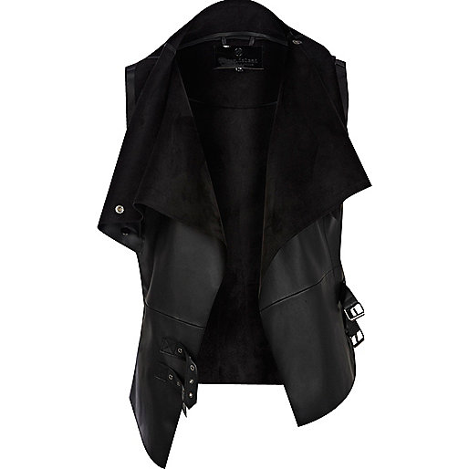 Black leather look vest