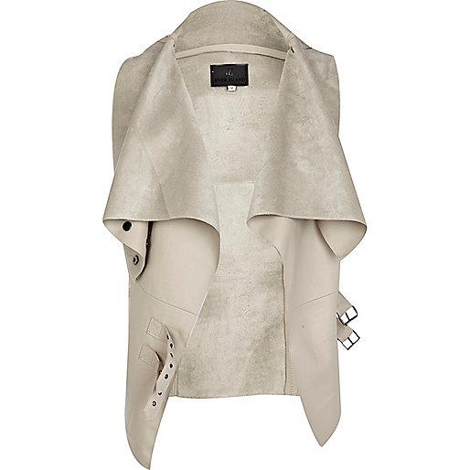 Cream PU vest